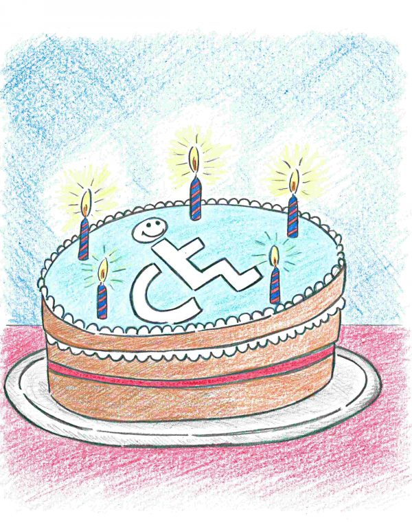 A cake with a disabled logo on it