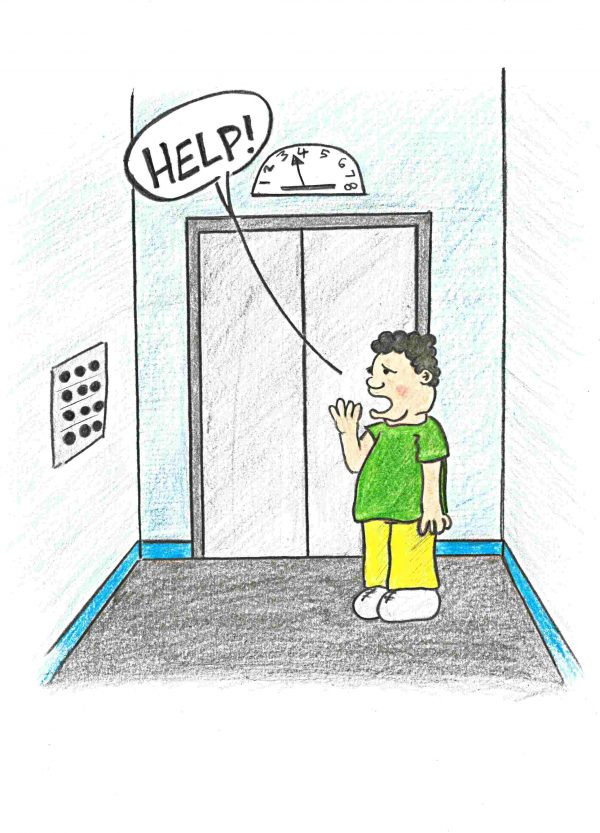 A man stuck in an elevator